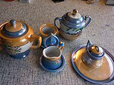 7 Piece Meito China Japan Blue & Peach Lusterware Snack Tea Set Hand Painted