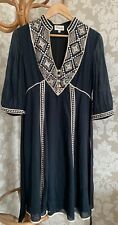 Temperley London Dress. Size 8. Navy Blue. Ethnic. Temperley Embroidery. Ivory