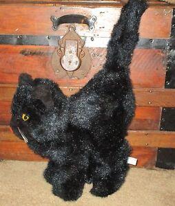 RARE VTG MARY MEYER PLUSH HALLOWEEN BLACK CAT ARCHED BACK GLASS EYES 1960s EXC