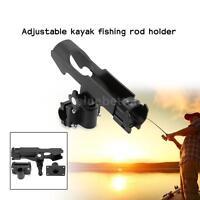Adjustable Side Rail Mount Kayak Boat Fishing Pole Rod Holder Tackle Kit Black