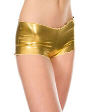 Cyber Goth Industrial Steampunk Gold Stretch Tanga Hot Pants Shorts OS