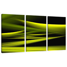 TRITTICO TRIPLE 3 ASTRATTO TELA Lime Verde Moderno Wall Art Set 3047