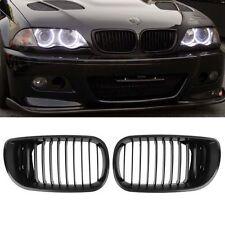 2x Matt Black Front Hood Kidney Grille 4 BMW 02-05 BMW E46 4-Door 318i 320i 325i