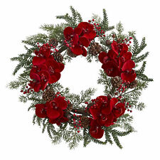 "Artificial 22"" Red Phalaenopsis Orchid Berries & Pine Christmas Holiday Wreath"