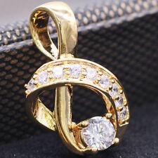Charm Rhinestones Note Pendant White Crystal Zircon 18k Gold Plated Jewelry