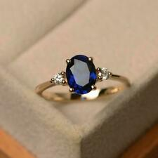925 Sterling silver Gold plated 4.25CT blue sapphire engagement Ring Size  8