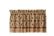 New Primitive Farmhouse Red FAITH FAMILY FARM ROOSTER Chicken Valance Curtains