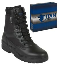 PATROL COMBAT BOOTS BLACK SIDE ZIP LEATHER TACTICAL SECURITY MILITARY POLICE