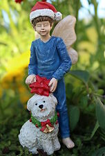 Miniature Fairy Garden Christmas Boy Fairy Nick and Puppy Dog Fluff Decoration