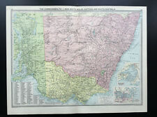 Antique Map Of Australia New South Wales Victoria  1926