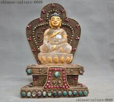 Tibet crystal silver Filigree Gilt Inlay gem Sakyamuni Shakyamuni Buddha statue