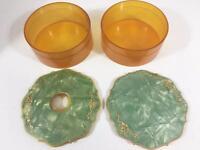 Dresser Set Art Deco Vtg 2 pc Celluloid Powder Box & Hair Receiver Green Amber