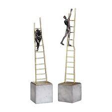 Gold Ladder Climbing Modern Man Sculpture Set | Corporate Gift Desk Statue