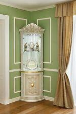 Eckvitrine Wohnzimmer Esszimmer Eckschrank Elfenbein Hochglanz Stilmöbel Italien