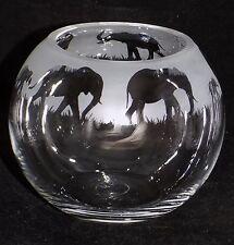 "New Hand Etched ""ELEPHANT"" Large Candle Holder/Sweetie Jar/Pot Pourri Bowl/Vase"
