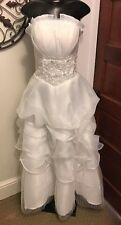 L/XL Strapless Cosplay Ruffled White Wedding Dress Lined & Back Zipper NEW