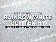 """8""""x5 feet Rainbow White Glitter Heat transfer vinyl/T-Shirt /thermal Press Roll"""