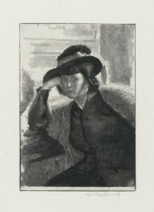 A very rare original Gerald Brockhurst etching, pencil signed, Une Dacquoise