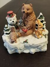 Used House Of Lloyd 1996 Winter Christmas Figurines Music Box 2 Moveable Pieces