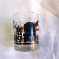 """Black Cat Glass Votive Candle Holder 2.5"""" cemetery haunted castle Halloween"""