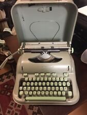 1965 VTG Hermes 3000 Portable Typewriter w/ Case Swiss Sea Foam Green Working