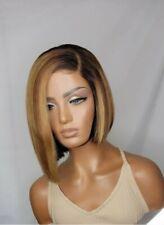 100% Luxury Ombre Blonde Lace frontal Bob wig (100%virgin peruvian human hair)