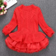 Kids Girls Knitted Sweater Winter Warm Pullovers Crochet Tutu Dress Tops Clothes