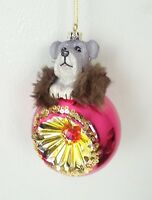 Christmas Ornament Dog Yorkshire Terrier Pink Gold Sequins Glass Ball Holiday