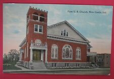 ANTIQUE POSTCARD-FIRST U.B. CHURCH-NEW CASTLE INDIANA