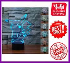 Pokemon Pikachu 3D LED Night Light 7 Colors - Touch Table Desk Lamp, FAST SHIP