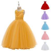 Flower Girls Kids Wedding Party Dress Bridesmaid Pricess Long Maxi Dresses Gown
