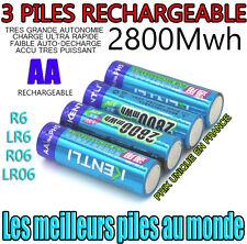 3 PILES ACCUS RECHARGEABLE AA 2800Mwh LITHIUM Li-ion 1.5V KENTLI R6 R06 LR06 LR6