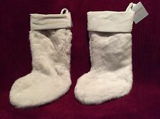 """NEW Southern Living For Dillard's (2) WHITE Faux Fur Christmas Stockings 9""""x19"""""""