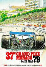 Ad Art Monaco 37e Grand Prix  Motos Automobile Car Race  Deco Auto  Poster Print
