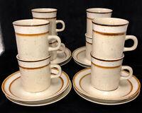 "8 Sango Rainbow Stoneware *CAPRI* BROWN* 3 1/2"" CUPS & SAUCERS* 651"
