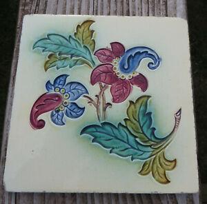 "Impressed Majolica Floral Tile - Cream Ground (all over) - Marked 330 6"" 15.2cm"
