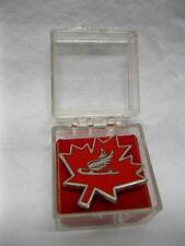 Canada Speed Skating Winged Skate Championships Enamel Pin Button Badge Vtg Old