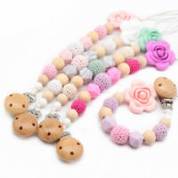 Natural Crochet Wood Silicone Beads Flower Baby Teething Pacifier Chain Clip Toy
