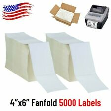 5000 Fanfold 4x6 Direct Thermal Shipping Labels For Zebra Elton Rollo Printer