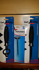 """LOT OF 3 1 EA Adcraft  8"""" 2 way Can Opener 9"""" Grapefruit Knife meat thermometer"""