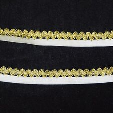 White and GOLD Picot edge elastic trim metallic 10YD piece stretch
