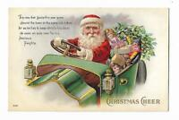 Old Christmas Postcard Santa Claus Driving Car Full Of Toys Tree Automobile