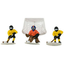 Hockey 4 piece Cake Decoration Kit Party Favors 2 players 1 goal net 1 goalie