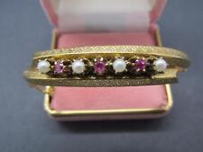 Vintage 14k Solid Yellow Gold Pearl And Pink Spinel Gemstone Bracelet 16.8 Grams