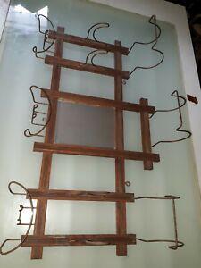 Antique wood wall hat coat rack mirror craftsman hall tree valet hook