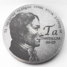 Tribute to Discoverer of Tantalum 1.5 inch 38.1mm diameter Pure Ta Metal Coin