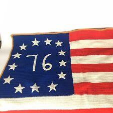 Vintage Handmade Crochet American Flag 76 Throw Blanket Afghan Red White Blue