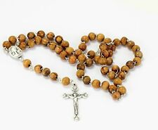 Olive Wood Beads Rosary with Crucifix, Madonna and Jerusalem Soil From Holy Land