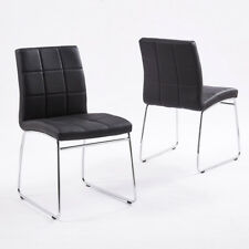 2/4/6 Dining Meeting Chairs Chrome Legs Leather Pad Kitchen Office Waiting Room