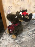 """Gemmy Animated Moose Christmas 10"""" Sleigh Ride Together With You Candy Cane"""